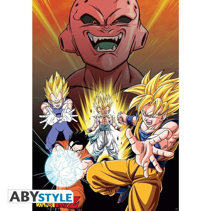Dragon Ball Z - Affiche Majin Buu vs Super Saiyans  - Goodies DBZ